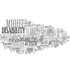 autism a difficult developmental disability text vector image vector image