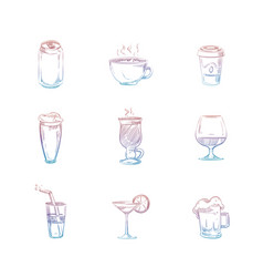 colorful hand drawn drinks set on white background vector image