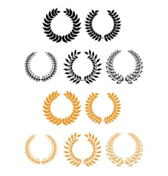 Heraldic set of foliate and laurel wreaths vector image vector image