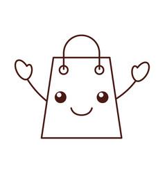 kawaii paper gift bag shopping commerce market vector image vector image