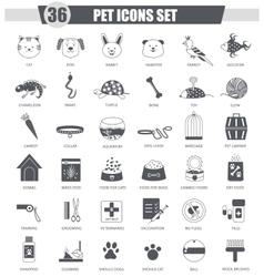 Pet animal black icon set Dark grey vector image vector image