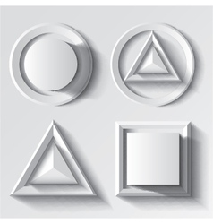 Realistic white geometrical shape set vector image