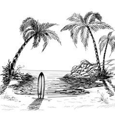 seascape drawing vector image