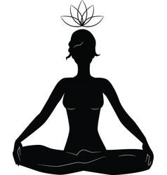silhouette of woman practicing yoga in lotus posit vector image