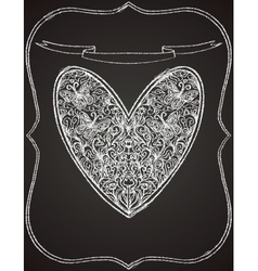 white heart shape on black chalk board vector image vector image