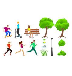 summer city park elements set vector image vector image