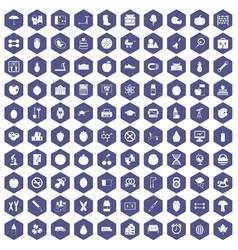 100 apple icons hexagon purple vector