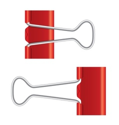 Binder clips Red paper clip Real metal icon vector image