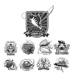Fishing sport club icons set vector