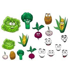 Fresh grocery vegetables set vector image