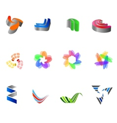 12 colorful symbols set 8 vector image