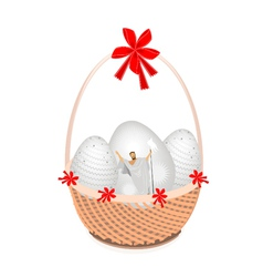 A Brown Basket of Beautiful Easter Egg vector image