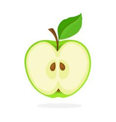 A piece green apple cut in half vector