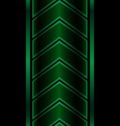 abstract green metallic arrow pattern on black vector image