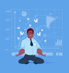 African american business man sit yoga lotus pose vector