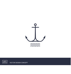 anchor emblem with waves yacht style design vector image