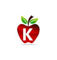 Apple letter k logo design template vector