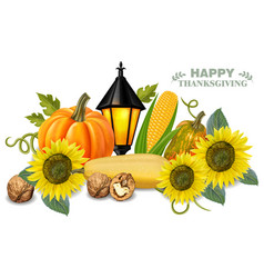 autumn harvest pumpkin and sunflower fresh vector image