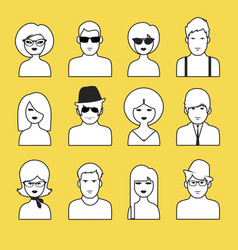 avatars or icons of boys and girls outlines pop vector image