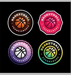basketball circular logo set modern professional vector image