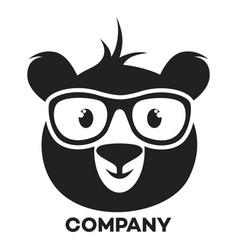 bear with glasses logo vector image