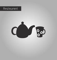 black and white style icon kettle and cup vector image