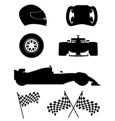 black silhouette set racing icons vector image