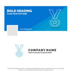 blue business logo template for award honor medal vector image