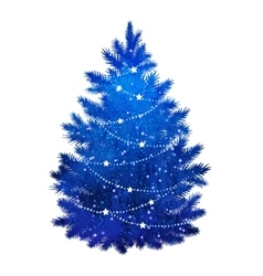 Blue christmas tree on white background vector