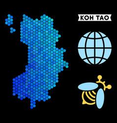 Blue hexagon koh tao thai island map vector