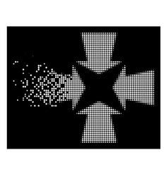 Bright broken dotted halftone shrink arrows icon vector