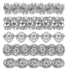 Brush border set with flower design vector