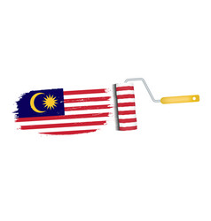 Brush stroke with malaysia national flag isolated vector