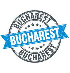 Bucharest blue round grunge vintage ribbon stamp vector
