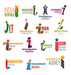 business icons letter i corporate identity vector image