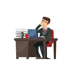 businessman at working table on vector image