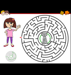 cartoon maze game with girl and cat vector image