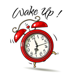 cartoon red alarm clock ringing wake-up text vector image