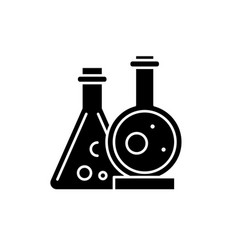 chemical laboratory black icon sign on vector image