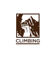 Climbing rock mountain design for t shirt vector