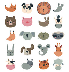 Collection cute hand drawn animal faces vector