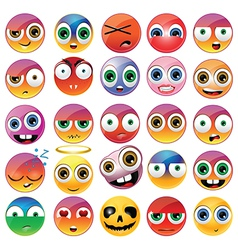 Collection of different emoji faces vector