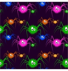 Color Spiders On The Dark Background vector image