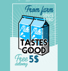Color vintage milk banner vector