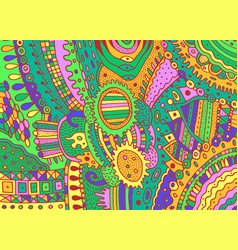 colorful green trippy psychedelic ornament vector image