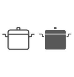cooking pan line and glyph icon kitchen vector image