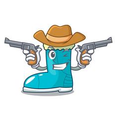 Cowboy winter boot shoe in shape cartoon vector