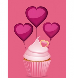 Cupcake and heart shaped balloons vector