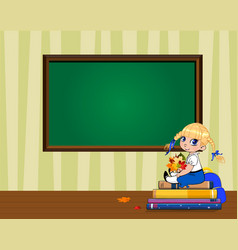 Cute cartoon school girl sitting on books pile vector