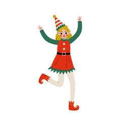 cute girl christmas elf character santa claus vector image